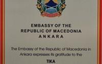 Makedonya Cumhuriyeti'nden TİKA'ya Teşekkür Plaketi